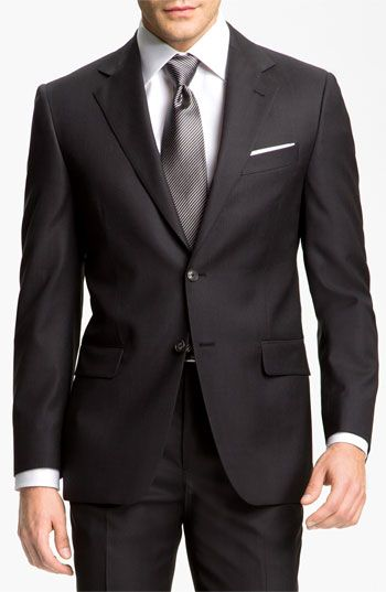 Charcoal, two button, square fold pocket square