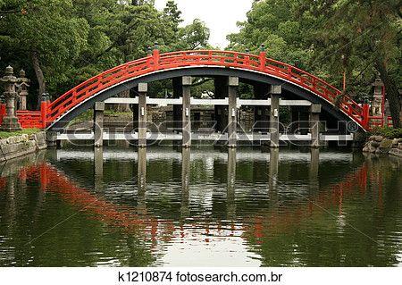 ponte, -, Sumiyoshi, Taisha, santuário, osaka, japão Ampliar Foto