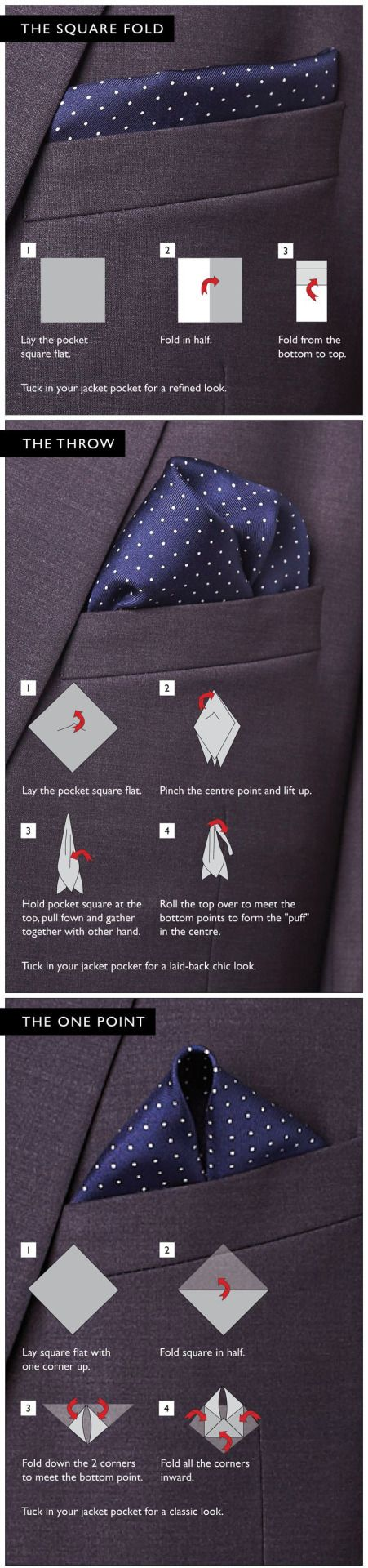 Pocket Square tutorial... Great infographic.