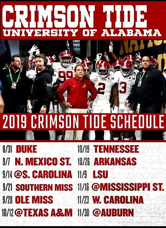 Bama Schedule 2019 Alabama Crimson Tide Football Alabama