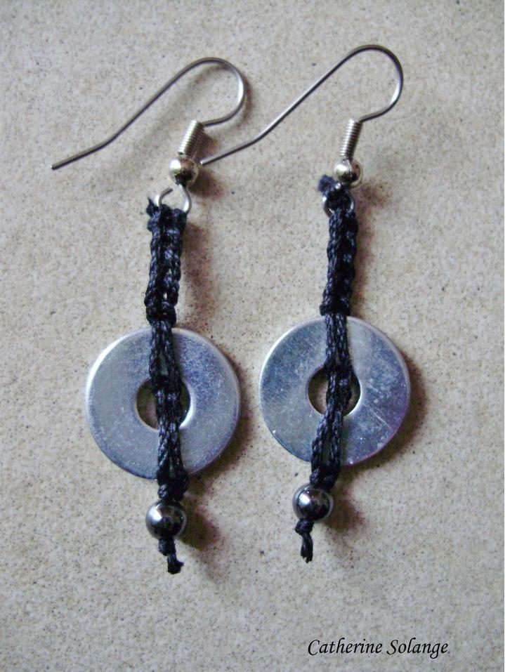 Boucles d'oreille acier et coton