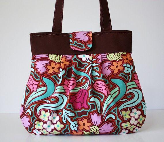 Tessuto di Amy Butler anima fiori borsetta plissè di SweetPeaTotes
