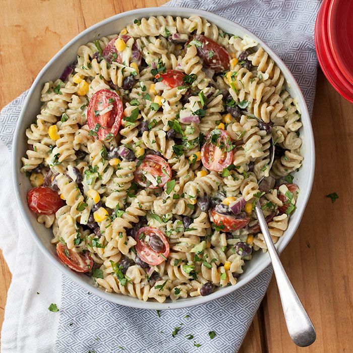 Mexican Pasta Salad with Creamy Avocado Dressing. Sub Greek yogurt for mayo