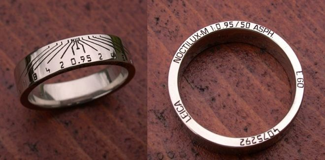 Wedding Ring made to look like a Leica lens ring