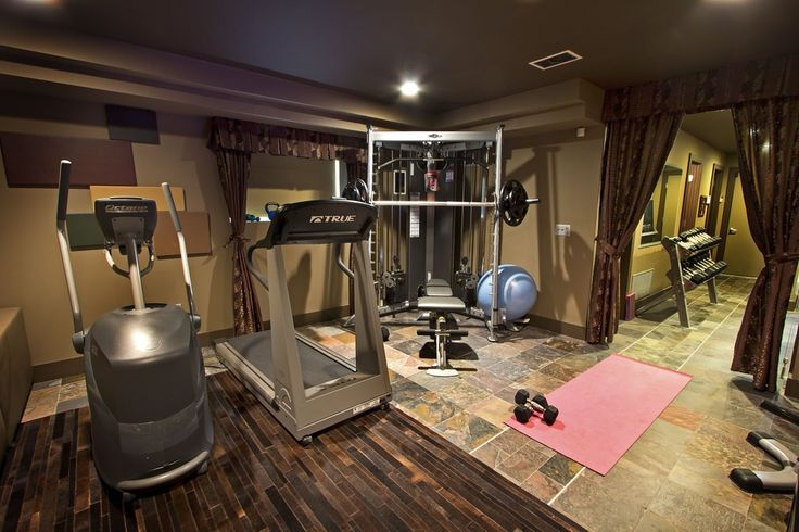 Contemporary Home Gym with CAP Barbell 150 lb. Hex Dumbbell Set with Rack, Maha Yoga Fitness Ball, GoFit Yoga Mat