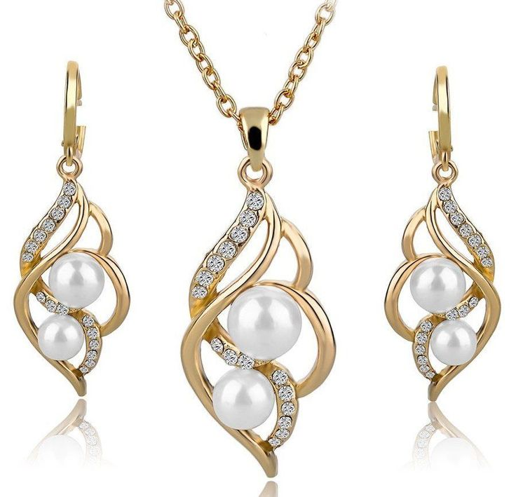 Jewelry Women Necklace Set Fashion Wedding Crystal Earrings Gold Alloy Plated  #LongWay