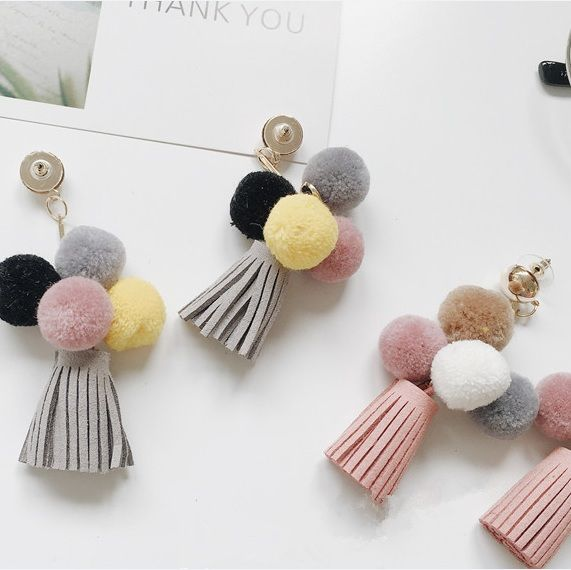 2016 Korean New Autumn Style Personality Sweety Tassel Ball Earrings Temperament Brincos For Women ED036