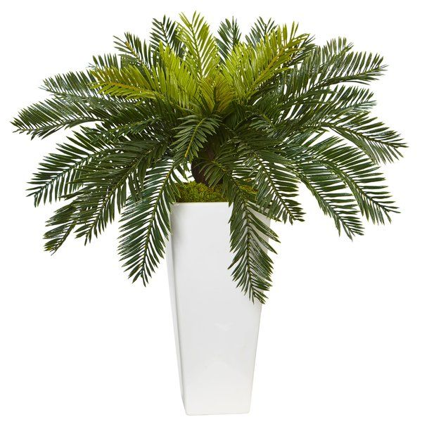 The Green Full Foliage Of This Artificial Cycads Form An Umbrella Of Leaves That Fall Over The Top Of Th Artificial Plants Small Artificial Plants Faux Plants