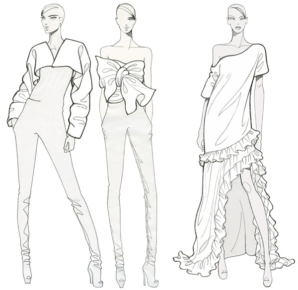 Fashion illustration fashion illustration for coloring for Fashion designer drawing template