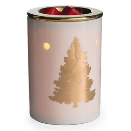 The Golden Fir silhouette set againt a porcelain body with its golden warming dish is verstile enough to go with modern, rustic, or upscale decor.  Fragrance Warmers are ideal in small rooms and spaces. Wax products from Country Scents Candles. are 100% soy wax that holds more fragrance and lasts longer compared to scented gels, oils, or sprays. The soft glow of the halogen bulb creates the ambiance and fragrance of a lit candle, without flame, soot, or other pollutants. The elegant hom...