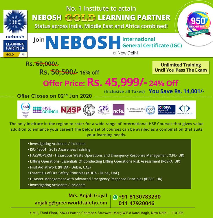 Nebosh IGC Course in New Delhi is the most popular