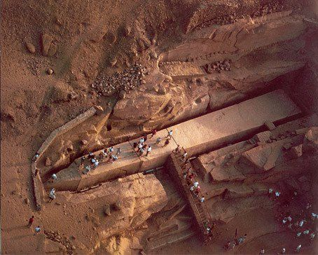 Recently found in Aswan, Egypt, the obelisk was ordered by Hatshepsut in the mid 1500s BC. For some reason the obolisk was never finished, even though it would have been the largest Egyptian obelisk ever erected.
