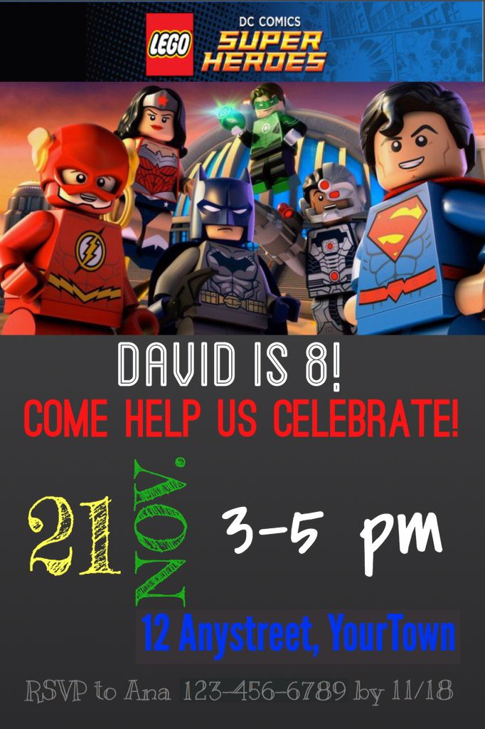 Lego DC Justice League birthday invitation sample