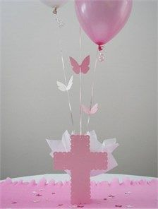 Butterfly Baptism Theme - Cross Balloon Centerpiece  Personalized Table Decorations - $18.00 NEW!