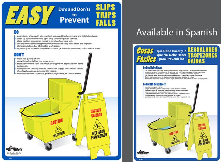 osha kitchen posters | Slip Trip Fall Safety Tips | food ...