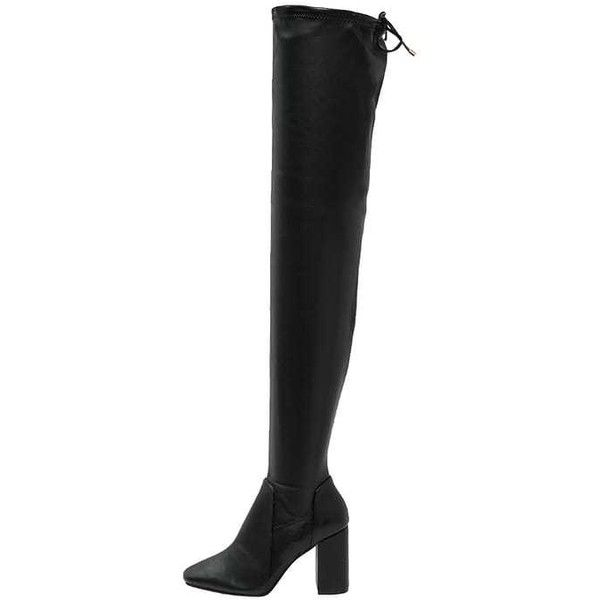 River Island Over-the-knee boots black ($87) ❤ liked on Polyvore featuring shoes, boots, black thigh high boots, river island boots, thigh boots, black above the knee boots and river island