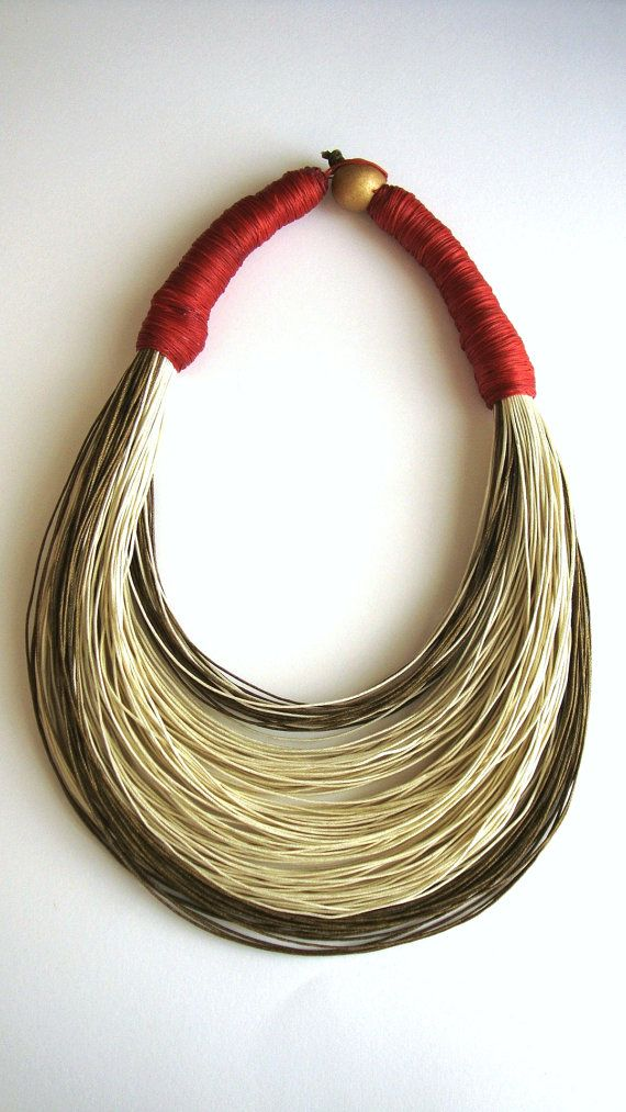 Handmade fiber necklace by superlittlecute on etsy