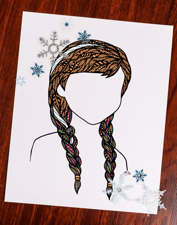 Zentangle - Frozen Strip of Hair by ZenspireDesigns on Etsy https://www.etsy.com/listing/241696154/zentangle-frozen-strip-of-hair