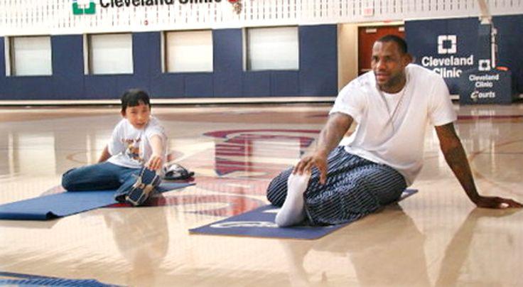 LeBron James an American NBA Basketball Legend uses yoga to help with his back issues.  #broga #yogaformen #mendoyoga #yogadudes #yogamen