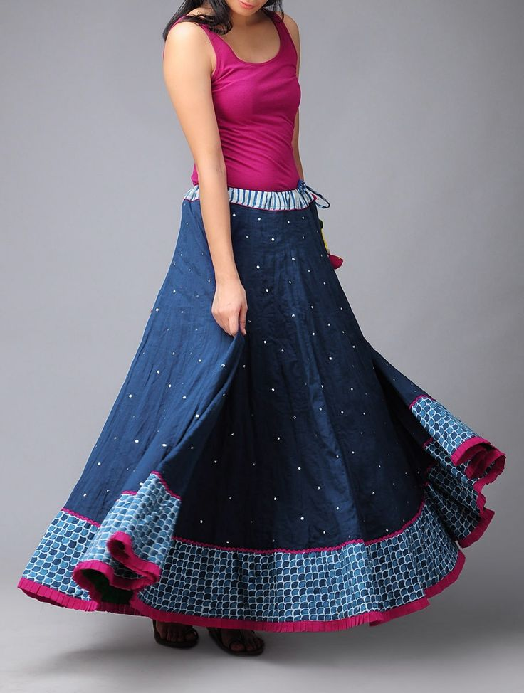 Buy vy Blue Fushia Serp Mukaish Kalidar Cotton Skirt (Free Size) Pure Online at Jaypore.com