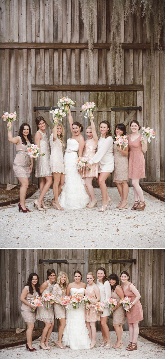 Cream and pink bridesmaids dresses #wedding #bridesmaids #fun