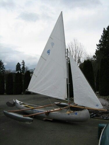 Another guy's sailing canoe with outrigger.  Did a great job making the floats.  Would like to do something similar.  The jib sail looks nice but if you're going to have a second sail on a canoe, I think a small mizzen aft would give the boat better balance - especially upwind.