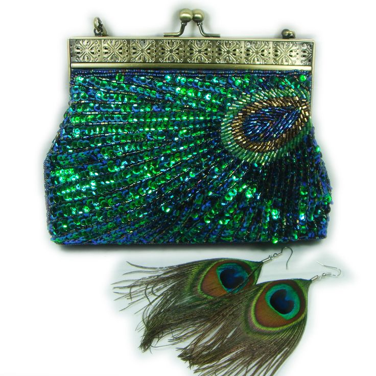 Peacock Feather Style Beaded Evening Clutch Bag Handbag Free Matching Earrings | eBay