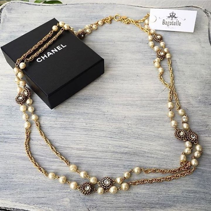 Chanel Gold Pearl Double Chain Necklace Condition