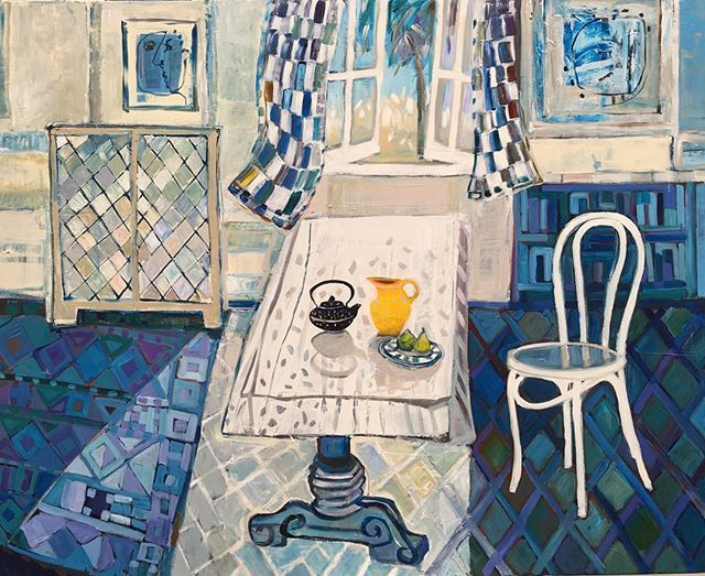 The Blue Room 122x152 cm (48x60). My first work for a long time working in a blue palette.