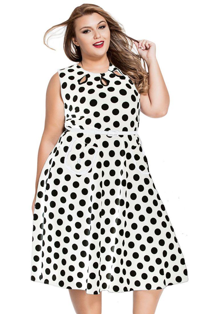 Grande Taille Robes Blanc Polka Dot Bohemain Robe Imprimee Avec Keyholes Pas Cher www.modebuy.com @Modebuy #Modebuy #Blanc #dress #me #Grande