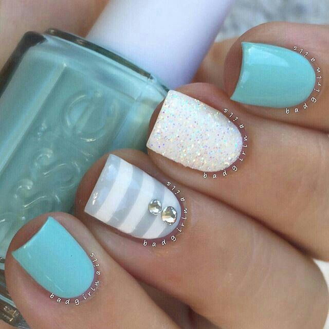 Light blue and white nails