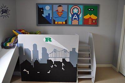 Super hero bedroom - love the wall art!