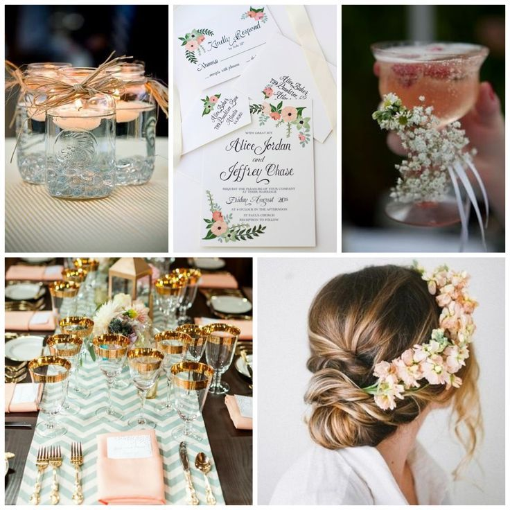 Soft peach and mint tones inspired this beautiful invitation. What is your wedding color scheme? Let us know and we can create a custom design for you! #BeholdDesignz