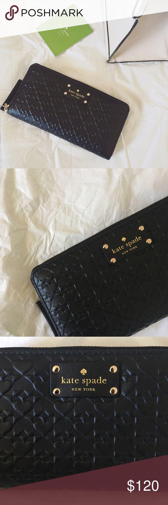 Kate spade zip up wallet Black spade patterned zip up wallet. Gold details and zipper. Kate Spade Neda WLRU2517. BNWT. kate spade Bags Wallets