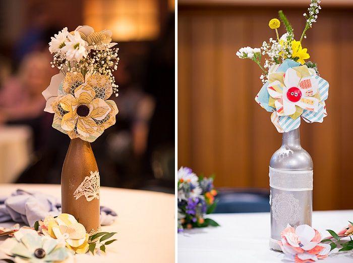 DIY Wine Bottle Paper Flower Wedding Centerpieces
