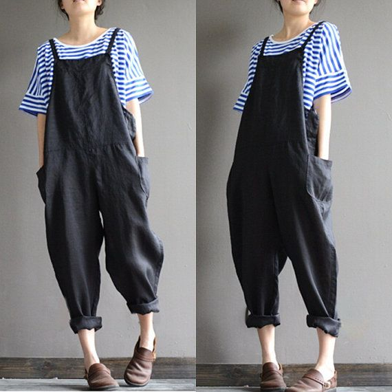 Linen overalls, overalls feet Harlan, stylish black pants child, female pants b190