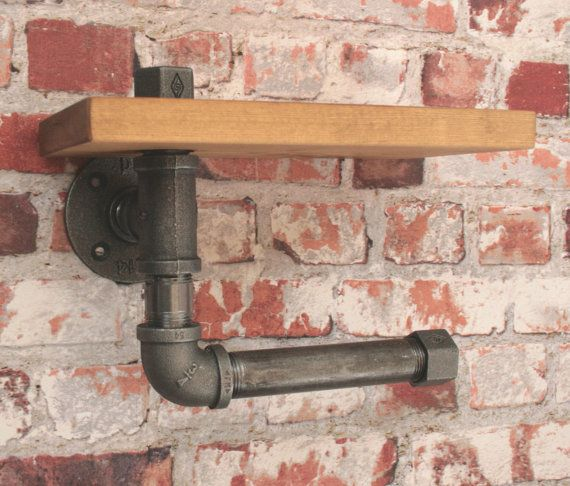 WC-ROL HOUDER met plank industriële ijzeren door WoodwormShop