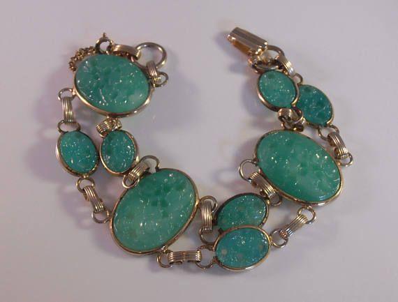 Art Deco Peking Glass Bracelet Carved Pierced Molded Double