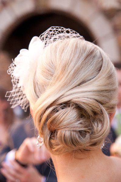 Classic Formal Hollywood Glam Nautical/Preppy Vintage Birdcage Veil Flower Long Medium Spring Straight Updo Wedding Hair & Beauty Photos & P...