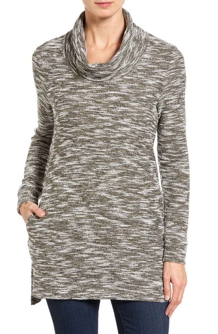 Free shipping and returns on Caslon® Knit Cowl Neck Tunic (Regular & Petite) at Nordstrom.com. A slouchy cowl neck tops the slim, straight cut of a knit tunic detailed with side pockets and a vented step hem.