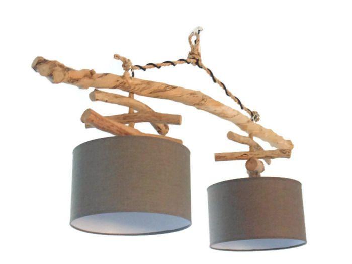 Lustre/plafonnier en bois flotté - gris 30 cm - création unique - double suspension - Led