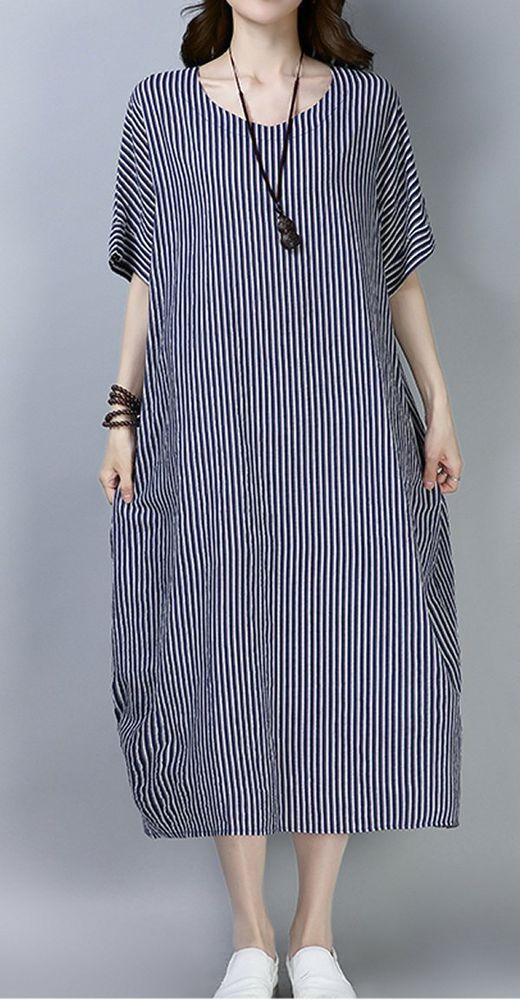 Women loose fit pocket dress stripes maxi tunic short sleeve large size pregmamt #Unbranded #dress #Casual
