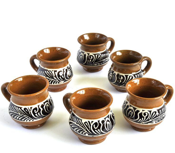 Buy now this Corund ceramic tiny pitchers set - Romanian authentic handmade folk art