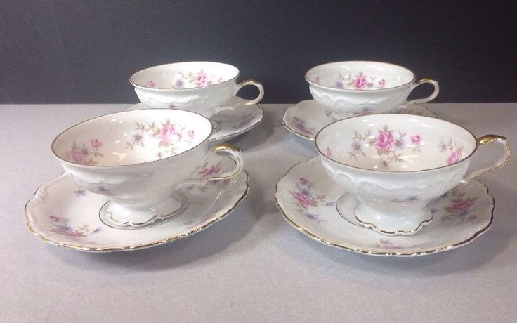 Edelstein Bavaria Maria Theresia FLORENCE Footed CUP & SAUCER GERMANY  #Edelstein
