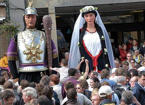 Kermis in Ath - Belgium. The wedding of Golliat with his beloved