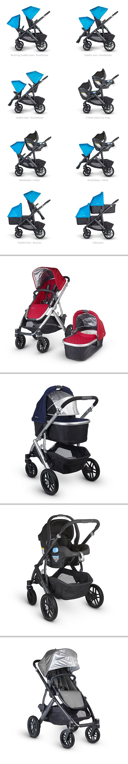 VISTA: A Single, Double and Triple Stroller - All in One. The Vista's intuitive design allows for multiple configurations, making transporting a second and third child a breeze. Life moves pretty fast. We say you've just got to roll with it.