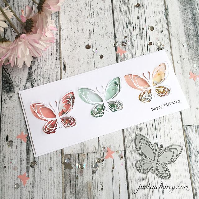 Justine's Cardmaking: Number 10 Shaker Card with Concord and 9th's Butterfly + Giveaway!
