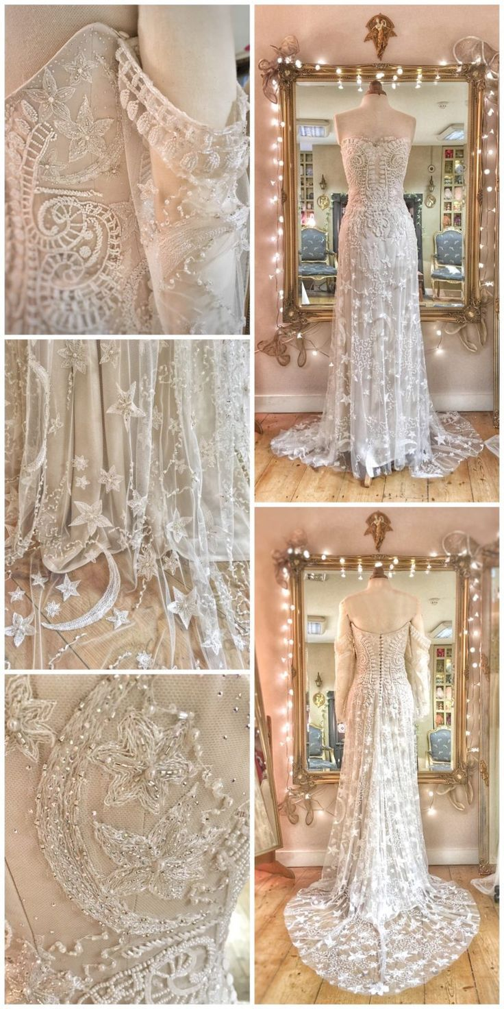 This Timeless A Line Wedding Gown With Embroidered Lace Cascade From The Bodice To The Soft Embroidered Wedding Dress Embroidered Wedding Blue Wedding Dresses