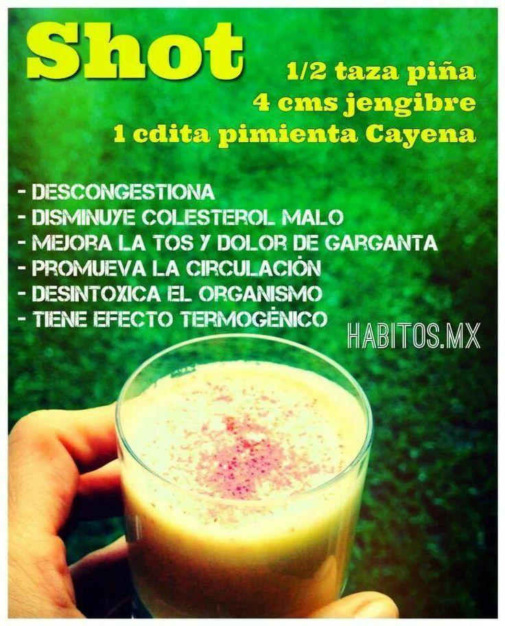 Shot para descongestionar, disminuir el colesterol, mejorar tos y dolor de garganta, promover la circulación, desintoxicar el organismo...de Habitos.mx