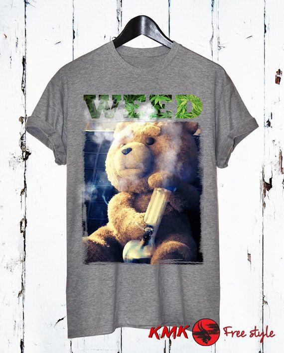 Ted T-shirt / Weed Tee / Ted smoking Tshirt / T by KMKDIGITAL